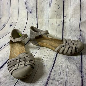 Ahnu Gray Malini Leather Sandals Size 6.5